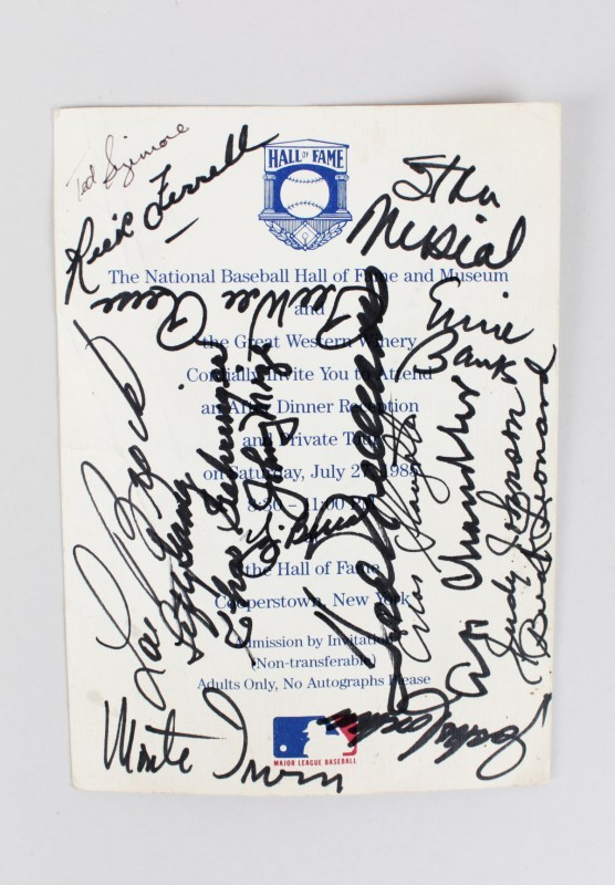 1985 Hall Of Fame Dinner Invite Signed Card - 17 Sigs. Ted Williams, Ernie Banks, Yogi Berra etc.