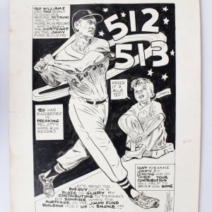 Boston Red Sox - Ted Williams 16x23 Vintage Cartoon Artwork by Bob Coyne