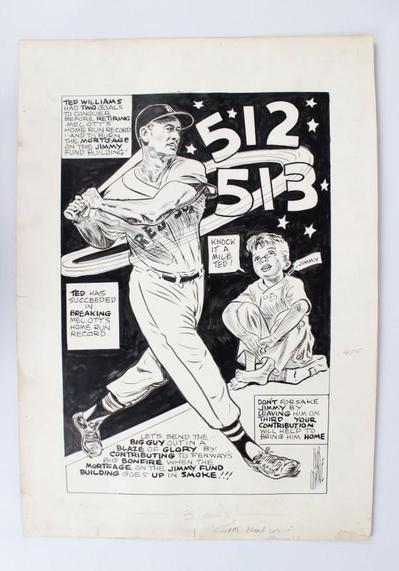 Boston Red Sox - Ted Williams 16x23 Vintage Cartoon Artwork by Bob Coyne