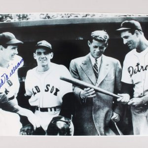 Boston Red Sox Ted Williams Signed 11x15 Photo With JFK