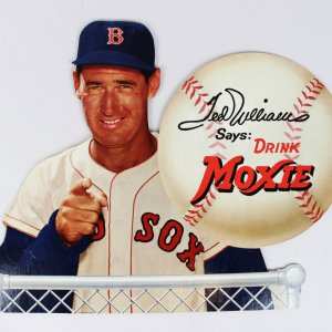 "Boston Red Sox Ted Williams ""Drink Moxie"" Easel Back Sign"