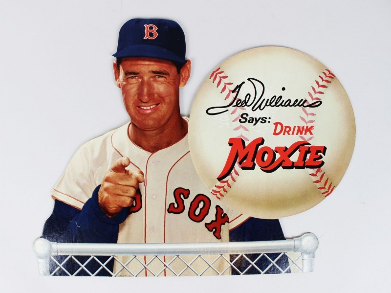 "1950s Boston Red Sox - Ted Williams ""Drink Moxie"" Easel Back Sign"