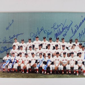1984 Boston Red Sox Reunion Game 8x12 Photo - 16 Sigs. - Williams, Doerr, Yaztremski & Others