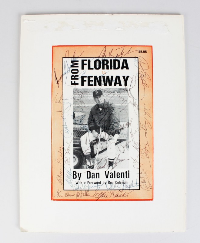 "Red Sox ""From Florida to Fenway"" Book Cover- 27 Sigs. Ted Williams, etc. - JSA"