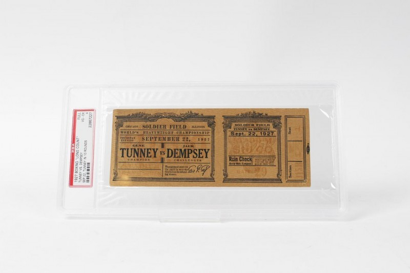"September 22, 1927 - Gene Tunney vs. Jack Dempsey ""Long Count Fight"" Full Ticket (Tunney in 10 Rounds - PSA Graded VG-EX 4)"