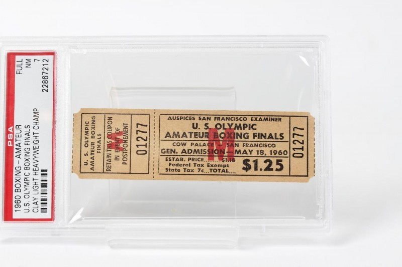 May 18, 1960 - U.S. Olympic Boxing Finals - Cassius Clay vs. Henry Cooper Light Heavyweight Trials Full Ticket (PSA Graded NM 7 )