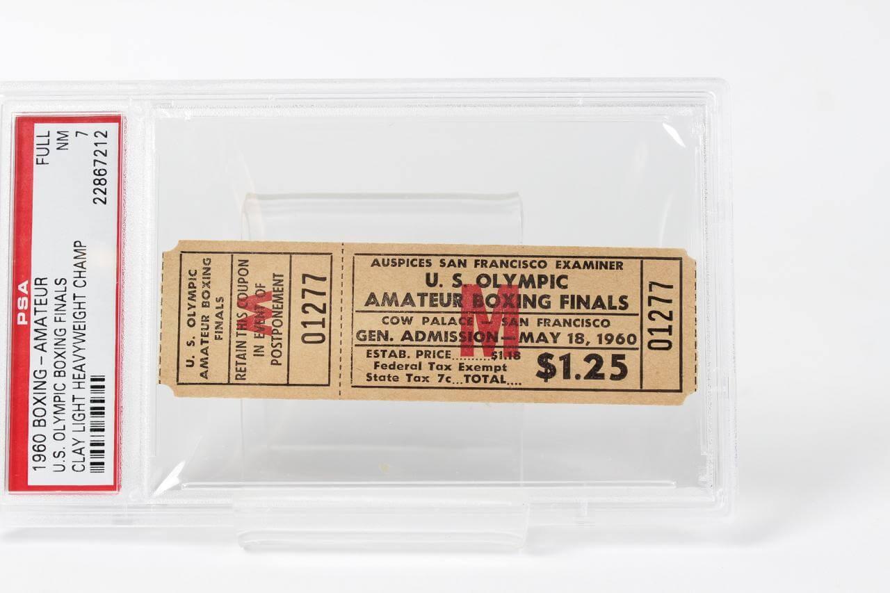 Cassius Clay vs. Henry Cooper  1960 Boxing Ticket - PSA 7