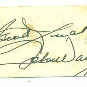 Actor John Wayne Autographed & Inscribed (Good Luck ) 2x3 Personnal Business Card