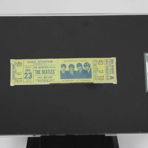 The Beatles 1966 8/23 Shea Stadium Full Unused (SGC) Ticket Genuine Sid Bernstein