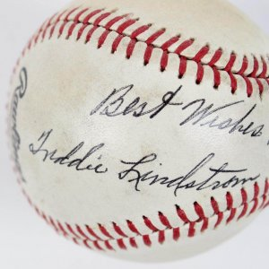 "New York Giants - Freddie Lindstrom Single-Signed & Inscribed ""Best Wishes"" ONL (Feeney) Portrait Baseball (JSA Full LOA)"