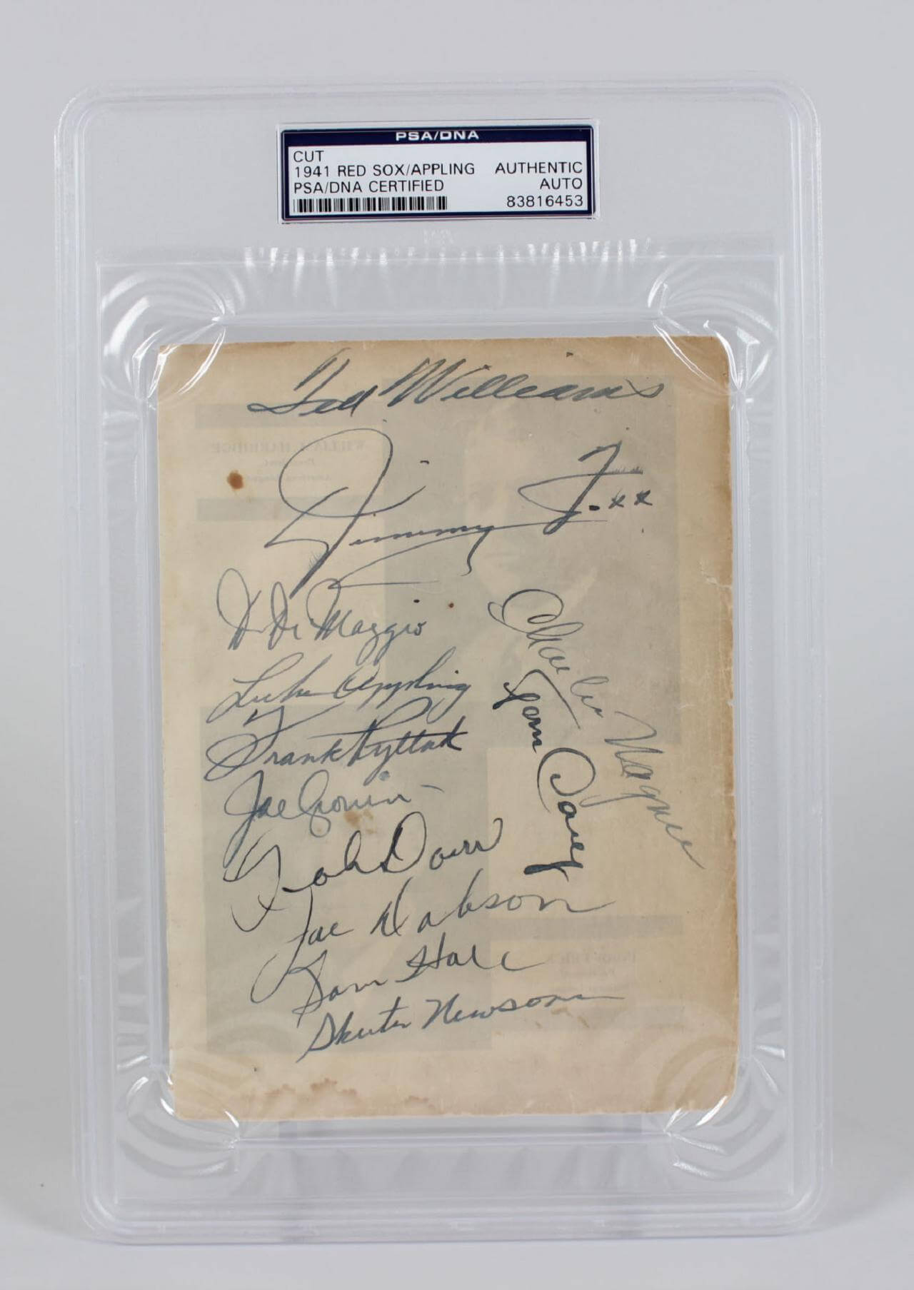 Jimmie Fox, Ted Williams  Signed 1941Team Sheet - COA PSA/DNA