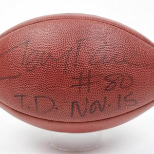 Jerry Rice Game Used  Signed & Inscribed (#80 T.D. NOV.15 )  Touchdown Football vs. Atlanta Falcons (65 Yard Catch Thrown by Steve Young)