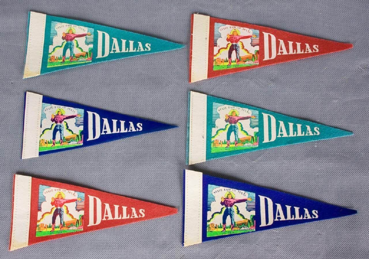 Collection of 6 Dallas State Fair Mini-Pennants