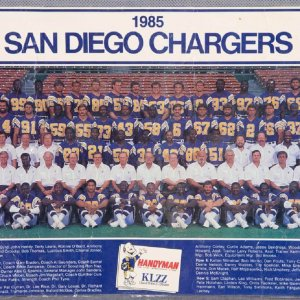 1985 Chargers Multi-Signed Photo  Derrie Nelson, Tim Spencer, Rolf Benirschke, Wayne Davis, Gary Kowalski, Chuck Ehin