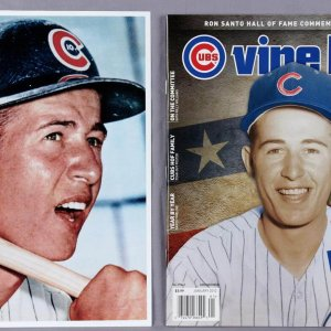 Chicago Cubs - Ron Santo Signed Photo Lot with Two Pins