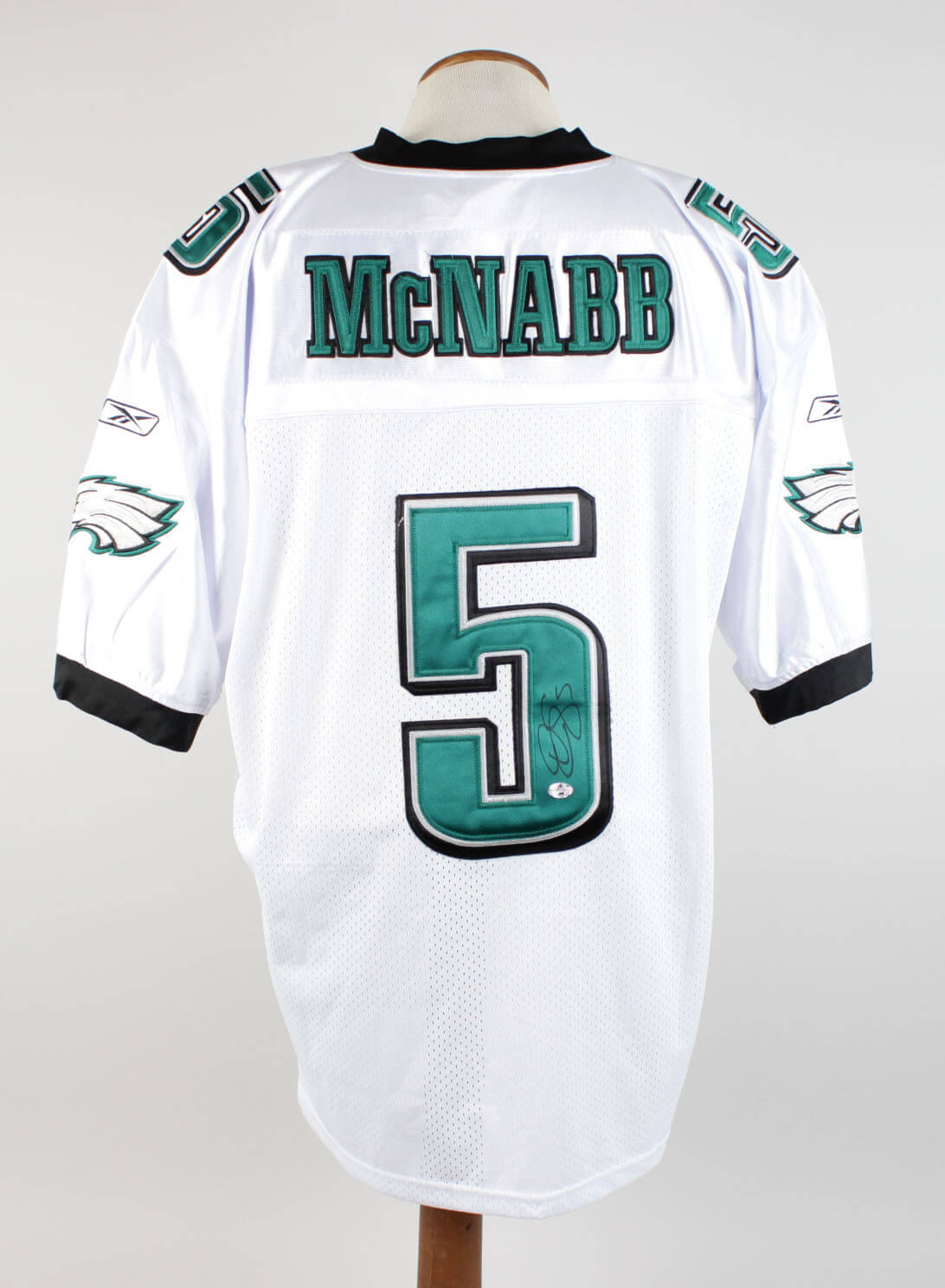 1d9ce78254def Donovan McNabb Signed & Inscribed (5) Philadelphia Eagles White Jersey  Signature Grades 9-10