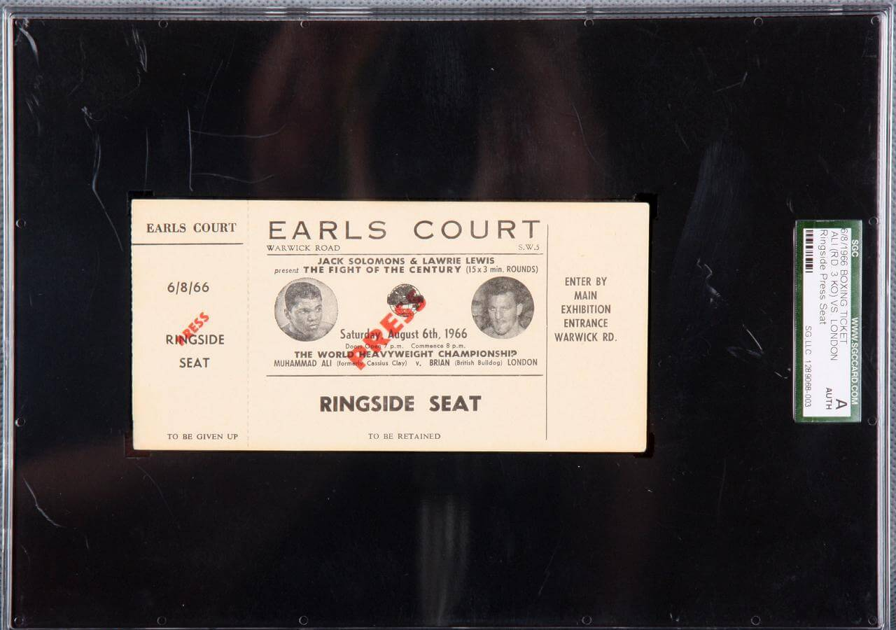 1966 Muhammad  Ali vs.  London Ticket (SGC Encapsulated as Authentic)