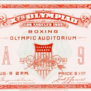 1932 Summer Olympics - Xth Olympiad, Los Angeles Boxing Full Ticket (August 9, 1932 Held at Boxing Olympic Auditorium)