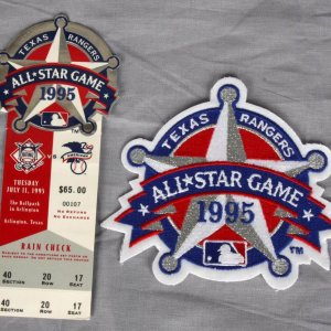 1995 All Star Game Game Ticket and Jersey Patch 2 Piece Package Texas Rangers