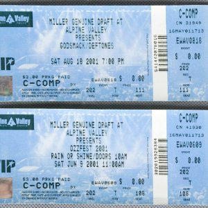 Two 2001 Alpine Valley Concert Tickets - Ozzfest Black Sabbath & Godsmack Deftones