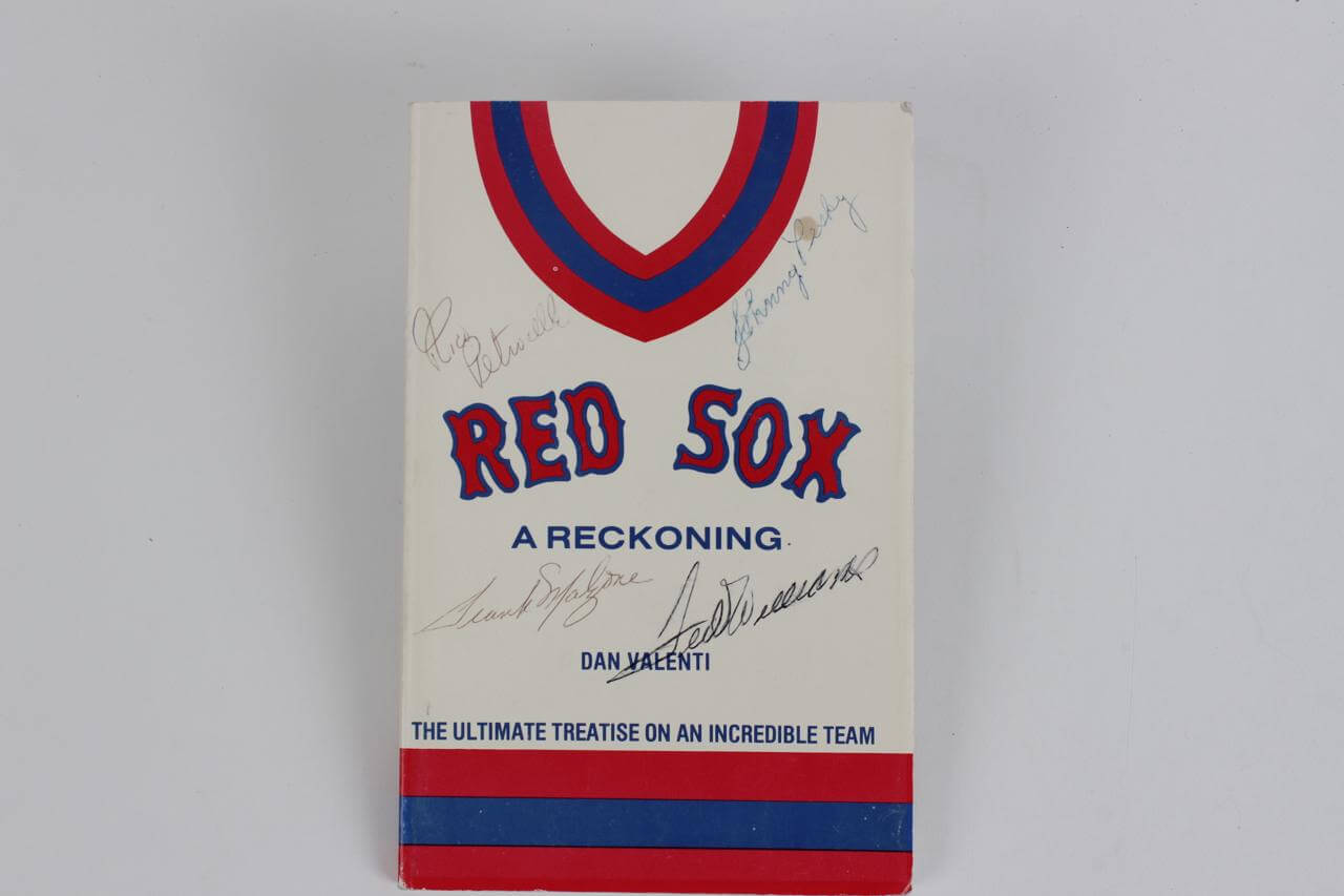 """Red Sox """"A Reckoning"""" Signed Book - Ted Williams, Johnny Pesky & Rico Petrocelli- JSA"""
