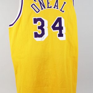 1996-97 Los Angeles Lakers - Shaquille O'Neal Game-Worn, Signed Jersey (Feat. 50th Anniv. Gold NBA Logo)