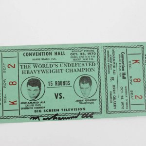 Oct. 28 1970 - Muhammad Ali vs. Jerry Quarry Signed Autographed Full Ticket (Closed Circuit TV at Miami Beach Convention Hall)