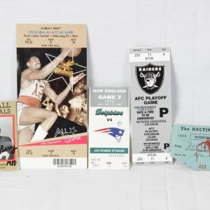 Football & Basketball Ticket Lot Incl. 2002 All Star Game feat. Wilt Chamberlain & Signed Raymond Berry Card + 1954 Baltimore Colts Press Pass