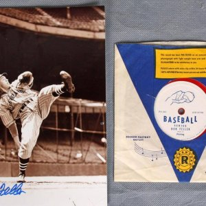Cleveland Indians Bob Feller Signed Photo Two Piece Package - COA