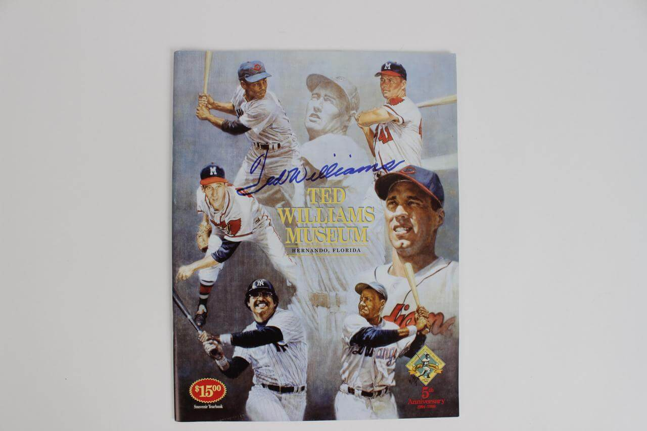 Boston Red Sox Ted Williams Signed 5th Anniversary 1994-1998 Ted Williams Museum Hitters Hall of Fame Souvenir Yearbook86603_01_lg