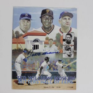 Boston Red Soxs Signed Ted Williams Museum Hitters Hall Of Fame Program 2/27/96