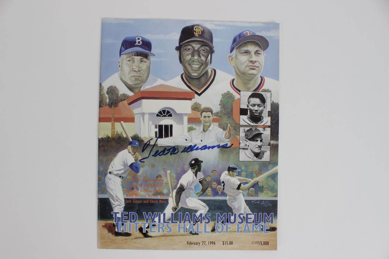 Boston Red Soxs Signed Ted Williams Museum Hitters Hall Of Fame Program 2/27/9686601_01_lg