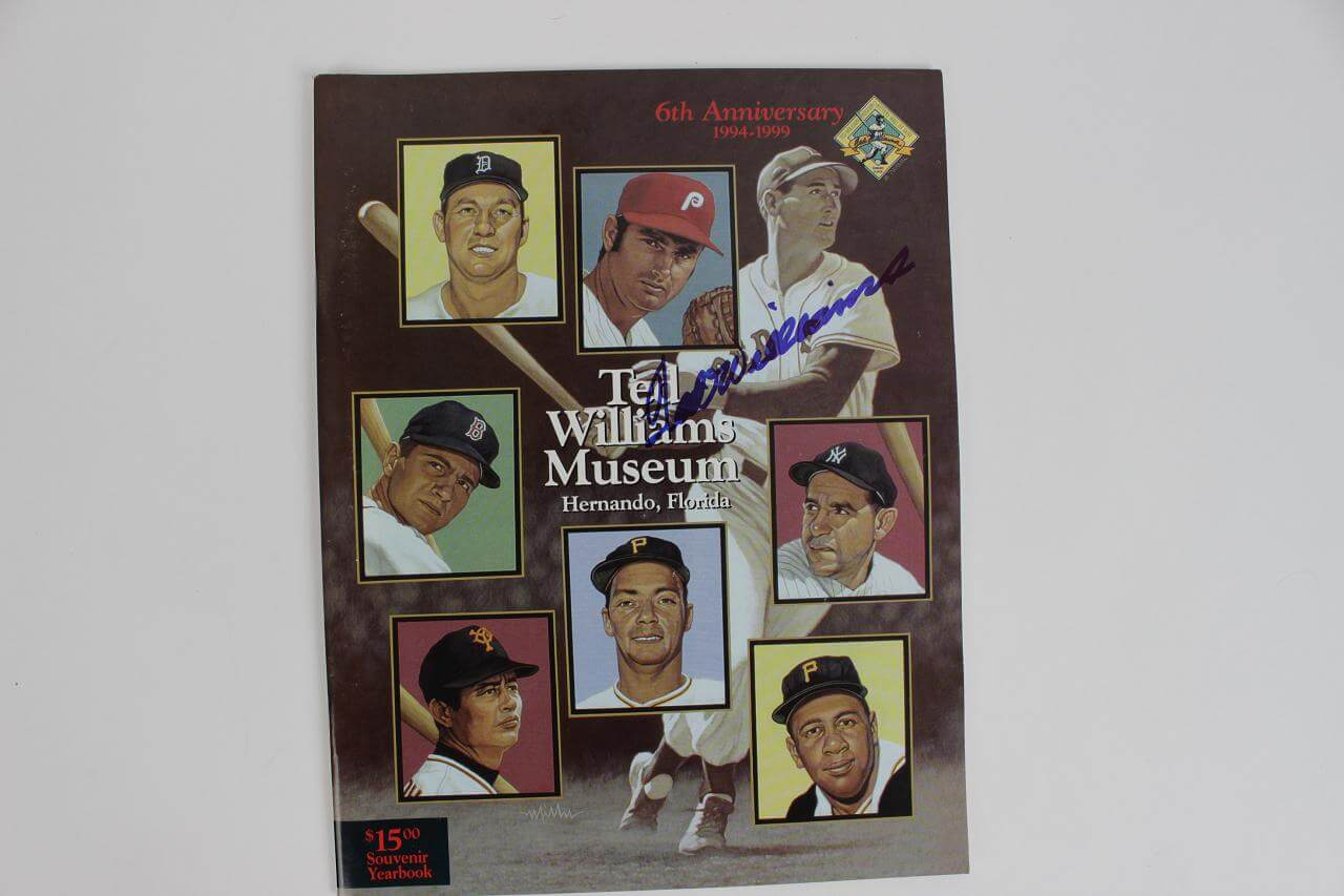 Boston Red Sox Ted Williams Signed 6th Anniversary 1994-1999 Ted Williams Museum Hitters Hall of Fame Souvenir Yearbook86596_01_lg