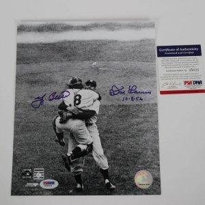 "Yogi Berra & Don Larson Dual Signed & Inscribed ""10-8-56"" B&W 8x10 Photo."