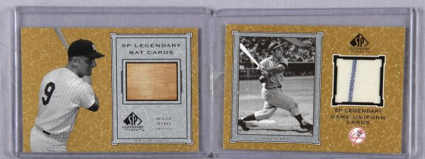 2001 SP Legendary Cuts - Yankees Lot - Roger Maris Game-Used Bat & Yogi Berra Game-Worn Jersey (w/Pinstripe) Cards