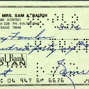 Redskins - Sammy Baugh Signed Check