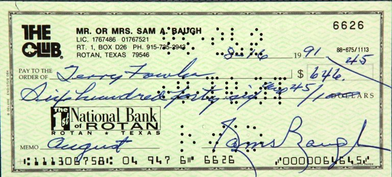 Redskins - Sammy Baugh Signed Check