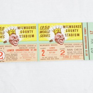 1958 World Series Game 2 Full Ticket - Milwaukee Braves vs. New York Yankees (Mickey Mantle Two Home Runs)