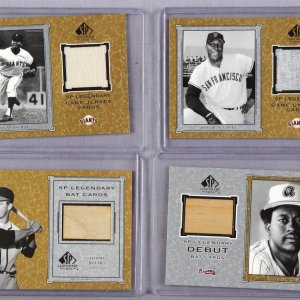2001 SP Legendary Game-Used Bats Worn Jersey Lot of 4 - Willie McCovey, Juan Marichal, Gary Matthews & Tommy Holmes