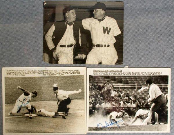 Vintage Washington Senators 8x10 Press Photo Trio - Feat. Bucky Harris, Sal Bando, Aurelie Rodriguez etc.
