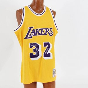 Los Angeles Lakers - Magic Johnson Jersey Signed Magic, Kareem, James Worthy