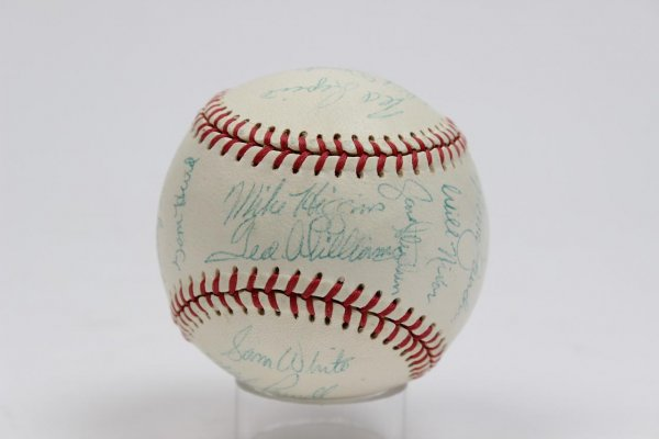 1956 Boston Red Sox Team-Signed Baseball 21 Autographs Incl. Mickey Vernon, Jackie Jenson etc. [Ted Williams & Pinky Higgins (Both CH)]