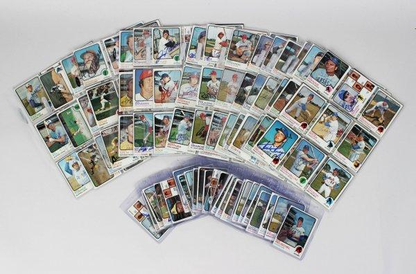 1973 Topps Baseball Card Signed Partial Set 300+ Sigs. Incl. Yogi Berra, Catfish Hunter, Eddie Mathews, Dock Ellis etc.