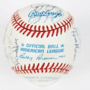 1986 Chicago White Sox Team Signed OAL (Brown) Baseball, Steve Carlton,Carlton Fisk, Harold Baines