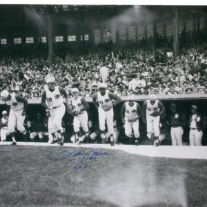 """Pete Rose Autographed 30x40 Inscribed """"1st Game Photo 4-8-63"""""""