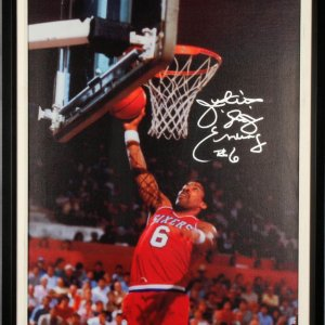 "Philadelphia 76ers - Juilus Erving Signed, Inscribed ""Dr. J"" Canvas 23"" x 33-1/2"" Giclee Photo Display"