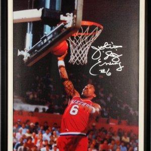 "76ers - Juilus Erving Signed, Inscribed Canvas 23"" x 33-1/2"" Giclee Photo Display - JSA"