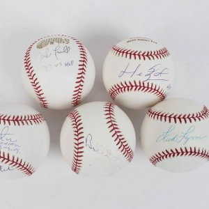 Boston Red Sox Signed Baseball Lot of (5) Incl. Jon Lester & Jason Varitek, Mike Lowell, Manny Ramirez, Fred Lynn & Bruins Bobby Orr