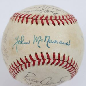 1986 Boston Red Sox Team Signed OAL Baseball -23 Sigs.- Rice,Boggs,Evans - JSA