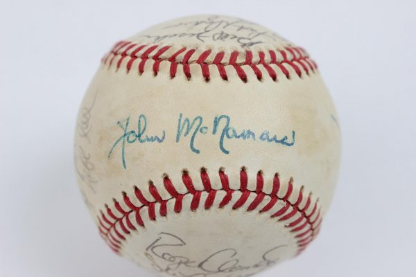 1986 Boston Red Sox Team Signed OAL ( Brown ) Baseball